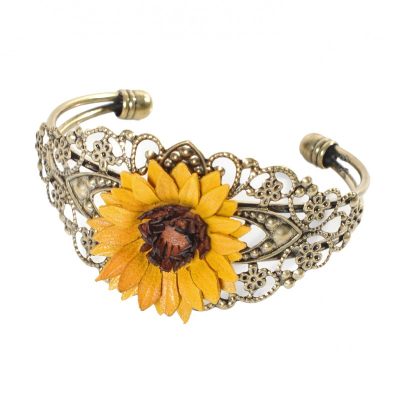 bracelet filigrane fleur de tournesol en cuir