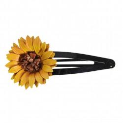 barrette clic clac tournesol en cuir