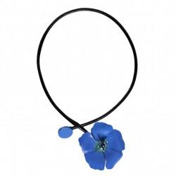 collier fleur de lin tout cuir