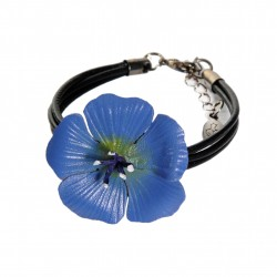 bracelet fleur de lin en cuir