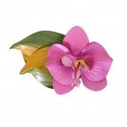broche orchidée en cuir