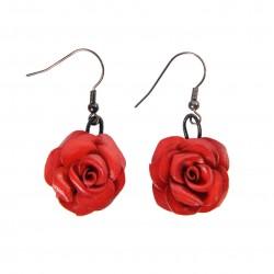 boucles d'oreilles roses en cuir rouges
