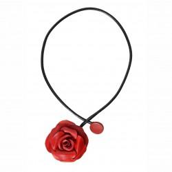 collier tout cuir rose rouge