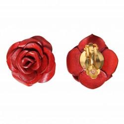 boucles d'oreilles rose en cuir rouges sur clips