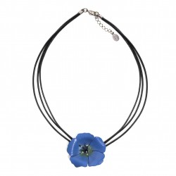 collier fleur de line en cuir sur cordons cuir