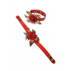 bracelet manchette rose en cuir