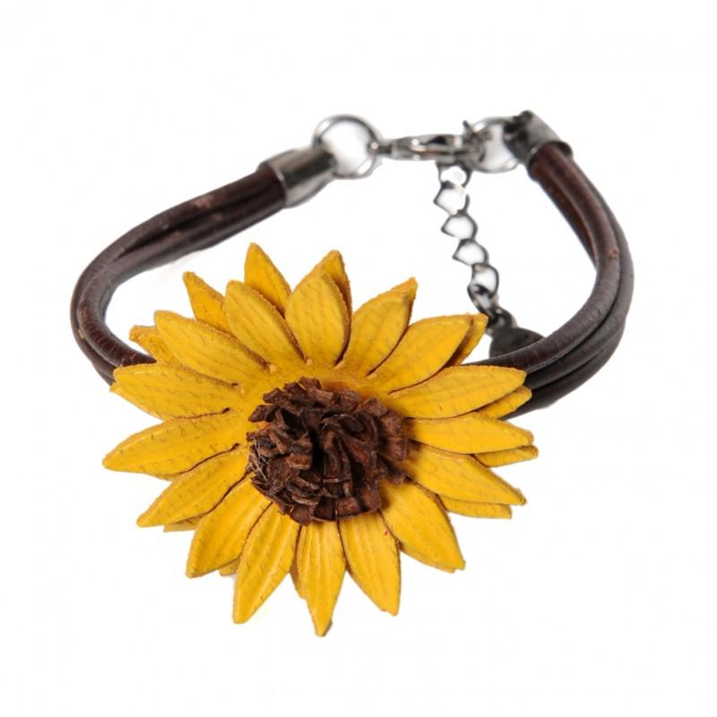 bracelet tournesol et cordons en cuir