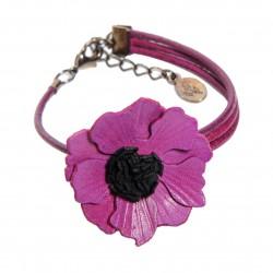 bracelet anémone en cuir asymétrique