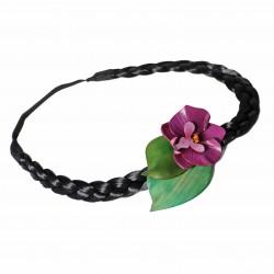 serre tête orchidée en cuir