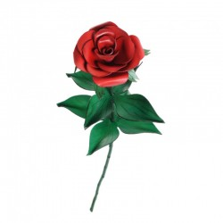 rose en cuir sur tige en bois