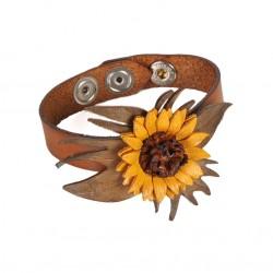 bracelet manchette tournesol en cuir