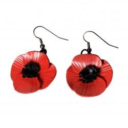 paire de boucles d'oreilles coquelicot en cuir rouge
